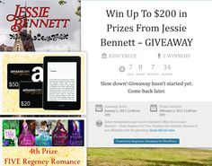 Win Up To $200 in Prizes From Jessie Bennett – GIVEAWAY.    http://www.jessiebennettauthor.com/giveaways/win-up-to-200-in-prizes-jessie-bennett/?lucky=137