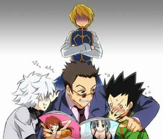 Killua, Leorio, Gon, and Kurapika… Lol, Leorio, you're in trouble XD       ~Hunter X Hunter