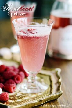 Sweetheart Spritzer! champagne cocktail recipe for valentines day!