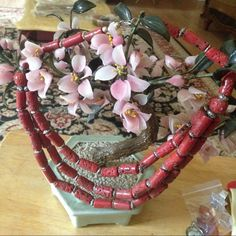 Antique unusual coral necklace Rare fabulous 3 layer coral silver beads from Red Sea heavy coral Jewelry Necklaces
