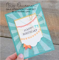 by Krista: Any Occasion (SAB 2017), Guy Greetings, Cupcakes & Carousels dsp stack, Stitched Shapes Framelits, Lots of Labels Framelits - all from Stampin' Up!