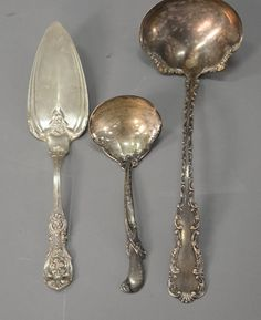 Three piece lot of sterling silver to include a punch ladle, Francis I pie server, and a Wallace small ladle.