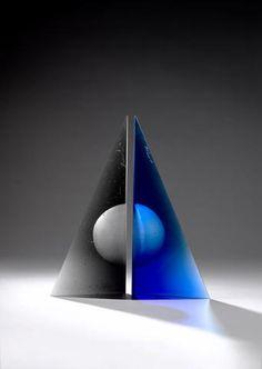 Fiaz Elson (British, born 1973) 'Tranquil Trajectory' a two part black & blue glass sculpture, 2008