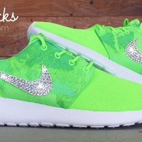 Nike Roshe One Customized by Glitter Kicks - Green White Adidas Shoes  Outlet, Nike d47587aaf3