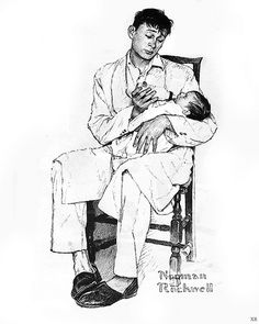 Mass Mutual Life, dad and baby--by Norman Rockwell Norman Rockwell, Americana, illustration