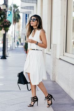 White on White Look: White sweater dress + white vest + black choker + black lace-up heels