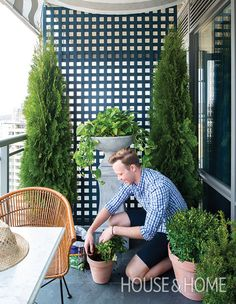 No backyard? Create an urban green space. H&H's Joel Bray added a trellis, pretty patio furniture, a pair of cedar trees and plenty of potted plants to his city deck to establish a private, garden-like feel. Small Backyard Gardens, Backyard Garden Design, Backyard Pergola, Patio Design, Garden Landscaping, Landscaping Ideas, Patio Ideas, Pergola Ideas, Pergola Canopy