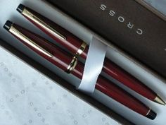 Cross Radiance Maroon Red Lacquer & 23 Kt Gold Medium nib fountain pen and 0.5MM Lead Pencil Set by CROSS. $58.00. *Futuristic look and feel .High end Cross maroon red fountain pen and 0.5MM pencil. CROSS INSIGNIA AND TRADEMARK AS A REMINDER OF CROSS UNPARALLEL QUALITY POLICY. *CROSS PERPETUAL  LIFE mechanical WARRANTY IRRESPECTIVE OF AGE. * Specially formulated Cross ink flows flawlessly for a superior writing experience. Distinguished by its sophisticated design and ba...