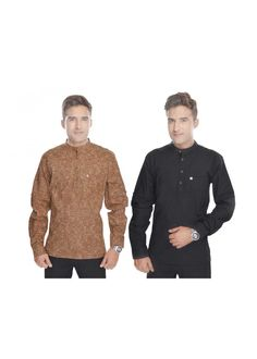 Kalrav Fashion Balck and Printed Brown  Cotton Kurta Combo