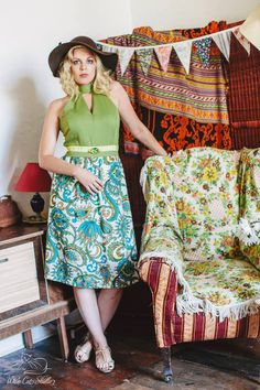 Alice Halliday 'Green with Envy Dress' size 14 from Brocade & Lime boutique 50 Style Dresses, Size 14 Dresses, Fashion Dresses, Envy, Nostalgia, Hair Makeup, Alice, Cat, Boutique