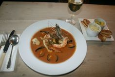 JP Bidart's recipe for Bouillabaisse at The Millbrook Inn, South Pool, nr Kingsbridge. Bouillabaisse Recipe, French Soup, Mussels, Devon, Thai Red Curry, Fries, Lunch, Dishes, Eat