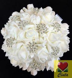 Artificial flowers crystal rhinestone white foam roses bridal wedding bouquet