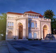 Classic House Exterior, Classic House Design, Dream Home Design, Modern House Design, Neoclassical Architecture, Modern Architecture House, Islamic Architecture, Architecture Plan, Mediterranean Homes Exterior