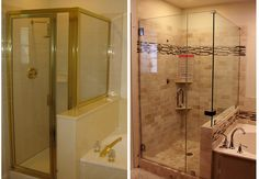 before and after images of bathroom shower remodels\ | For the full impact of the change check out the before and after: