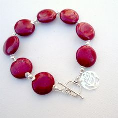 Red Agate Bracelet Sterling Silver Jewelry by jewelrybycarmal, $55.00