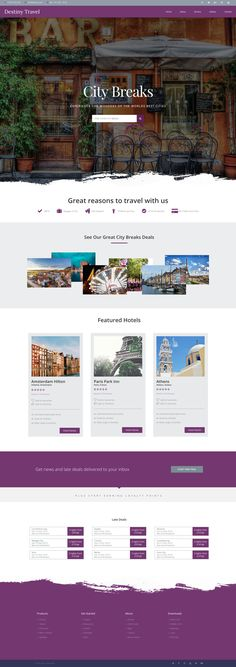 Website Design template for a City Breaks business, landing page.