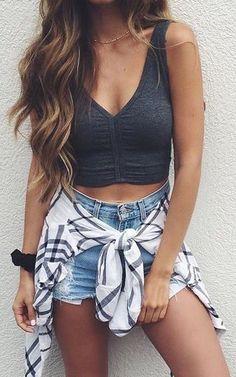 Black top   blue denim shorts