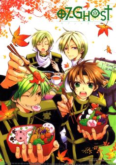 Tags: Artbook Cover, Scan, Manga Cover, 07-ghost, Teito Klein, Mikage, Hakuren Oak, Shuri Oak, Official Art