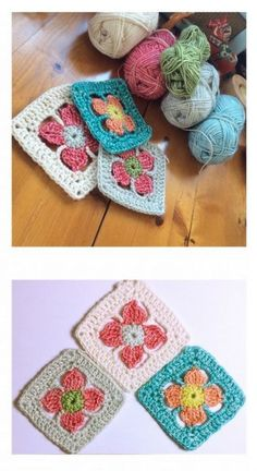 Spring flower #crochet granny square free pattern @madewithloops ༺✿ƬⱤღ…