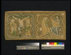 Burse  Place of origin: England, Great Britain (made) Materials and Techniques  Linen, embroidered in silver-gilt thread and silk  Dimensions  Height: 25 cm, Width: 54.5 cm