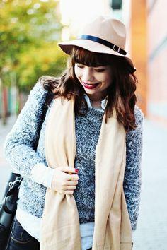 "Drawing Dreaming: ""Yeti"" > Outfit - Beige hat; grey fur sweater; denim blouse; beige pashmina scarf; black bag; black jeans; black boots; purple coat"