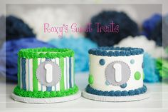awesome and amazing cake smash cakes for boys, blue and green and grey