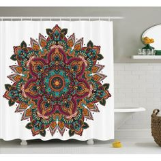 Mandala Decor Shower Curtain Set Ethnic Design With Indian Textile Unifying Centre Eastern Religion