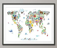 Animal Map of the World for children and kids  A map of the world featuring cartoon animals, famous landmarks, and buildings. A colorful, fun and exciting map for any young child to engage their imaginations. White background. As seen in the nursery of Mark Zuckerberg.  Frame/Matte is not included. Available sizes are shown in the SELECT A SIZE drop down menu above the ADD TO CART button  Other background colors available - click below to see them…