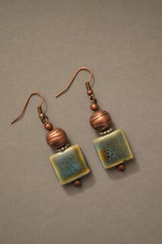 Turquoise stone and copper bead earrings by Kellyscharm on Etsy, $10.00