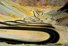 This road passes through Andes between Chile and Argentina / WOW what a ride that would be