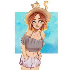 amazing, art, beautiful, cat, cute, draw, drew, ginger, girl, head, little, nice things, pretty, summer, itslopez