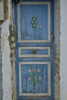 A painted door of one of the older houses in Villajoyosa (La Vila Joiosa), Costa Blanca, Spain