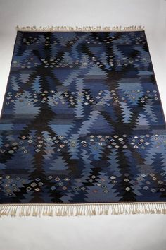 "Rug ""Seaweed Blue"" Designed by Barbro Nilsson for MMF, Sweden 1950s 