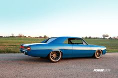 Another stunning project from the world-renowned craftsmen at Roadster Shop, this gorgeous '67 big-block Chevelle is on a Roadster Shop chassis and Forgeline RB3C Concave wheels finished with Titanium centers and Brushed outers.