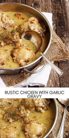 In the mood for chicken with gravy? This delicious, one-pan, Rustic Chicken with Garlic Gravy fits the bill perfectly and is a garlic lover's dream dinner! You'll want to bust out the mashed potatoes to soak up every bit of this fabulous gravy! #easyrecipes #dinner #chickenrecipes #food #cooking #chicken #easy #recipes One Pan Chicken, Chicken Thigh Recipes, Yum Yum Chicken, Chicken Recipes For Kids, Chicken Mashed Potatoes, Chicken Gravy, Potato Dinner, Dinner Entrees, Chicken