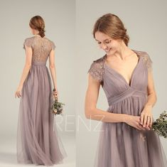 Mauve Bridesmaid Dress Tulle Prom Dress Long Empire Waist Ruched V Neck Lace Cap Sleeve Wedding Dress Tulle Bridesmaid Dress, Tulle Dress, Strapless Dress, Prom Dresses, Wedding Dresses, Empire Waist Bridesmaid Dresses, Bridesmaids, Cap Dress, Swatch