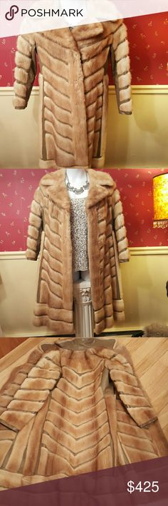 """REDUCED Mink and Leather Coat Pretty buff colored Mink with taupe leather accenting in a chevron design.  Great vintage style and flair!! 22"""" across back at chest. Excellent Used Vintage Condition. Lowering from $325- $240. Folk's Finer Furs, Saskatoon  Jackets & Coats"""