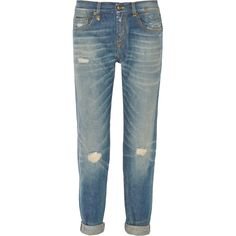 R13 Distressed mid-rise boyfriend jeans (255 SGD) ❤ liked on Polyvore featuring jeans, jean, mid denim, faded blue jeans, torn jeans, leather jeans, r13 jeans and destroyed boyfriend jeans