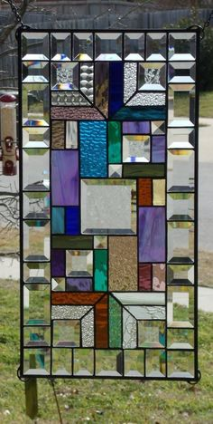 """• Eye Candy •Large Stained Glass Panel •Signed Numbered≈ 24 ½"""" by 12 ¼"""" 