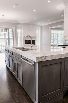 Supreme Kitchen Remodeling Choosing Your New Kitchen Countertops Ideas. Mind Blowing Kitchen Remodeling Choosing Your New Kitchen Countertops Ideas. Farmhouse Kitchen Cabinets, Kitchen Cabinet Design, Kitchen Interior, New Kitchen, Kitchen Ideas, Kitchen Decor, Kitchen Walls, Kitchen Grey, 1970s Kitchen