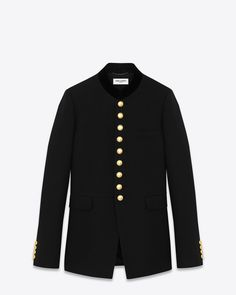 Saint Laurent Officer Jacket With Velvet Trimmed Stand-Up Collar, Gold Metal Buttons And Elongated, Cut-Away Hem.
