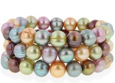 Honora 3 Set Multi Color Gelato Pearl Stretch Bracelets only $75.00 - Honora Pearl Jewelry