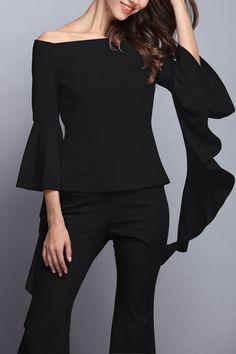 64227c53c6d6d Black Off Shoulder Flared Sleeves Zipper Back Design Blouse - US 19.95 - YOINS