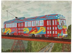 "A folk art gouache painting on paper on masonite of a vintage street car by Anthony ""Andy"" Flanigan (Pennsylvania, 1899-2004). Depicted is a groovy, vibrant painted street car number 7407 cruising along a raised track among a plain landscape as the artist is on the controls on the Drake with a lone passenger. In response to the Psychedelic era and the Beatles Sergeant Pepper and Yellow Submarine, Pittsburgh painted their trolleys with the same look. Signed to the lower left, 'Flanigan.' The…"