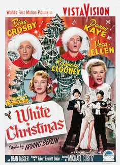 Bing Crosby, Danny Kaye, Rosemary Clooney, and Vera Ellen sing in this WHITE CHRISTMAS poster gif. [Video/GIF]