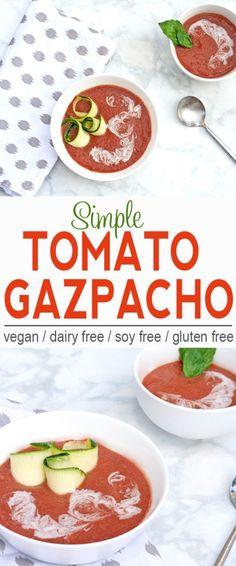 Simple Tomato Gazpacho   Vegan, Dairy Free, Gluten Free   This simple tomato gazpacho will help keep you cool this summer!   From @V_Nutrition   www.vnutritionandwellness.com