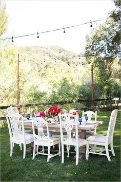 Fourth of July wedding or BBQ inspiration with endless details. #weddingchicks http://www.weddingchicks.com/2014/06/24/red-white-and-blue-wedding-ideas/