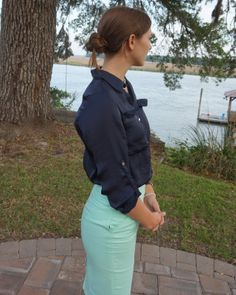 Mint and navy pencil skirt and blouse