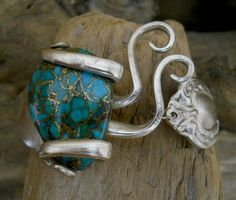 antique silver plated fork bracelet made with genuine turquoise