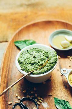 EASY Vegan Pesto in 5 minutes! No-oil optional, big flavor, SO easy! #vegan #glutenfree #pesto #recipe #minimalistbaker